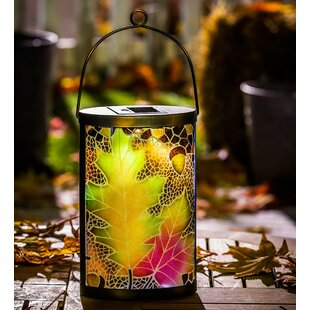 Plow & Hearth Fall Leaves Solar Lantern