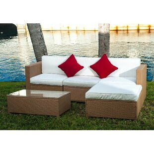 Czapla 5-Piece Rattan Sectional Seating Group with Cushions by Ebern Designs