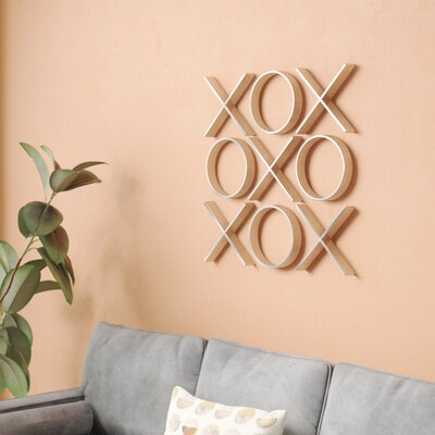 Brayden Studio Decorative Tic Tac Toe Hanging Big Wall Décor Size: 30 H x 30 W x 2 D, Finish: Silver