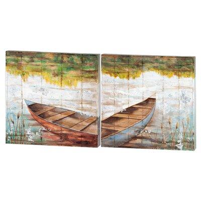 Au bord du lac 2 pièce peinture impression plaque série