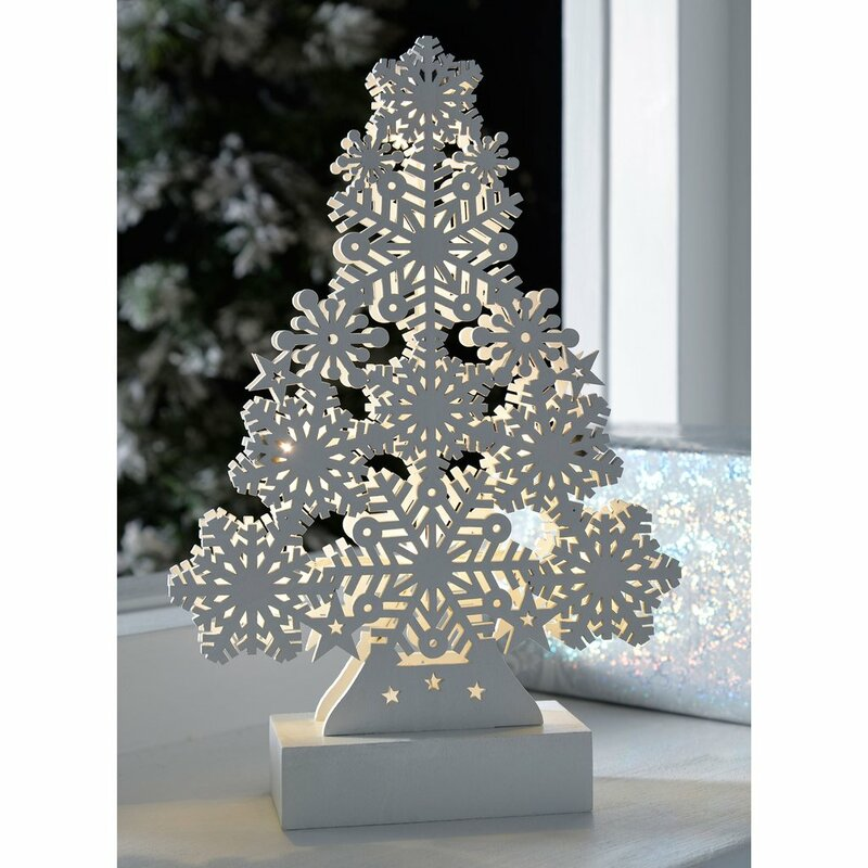 pre lit snowflake christmas tree wood table decoration