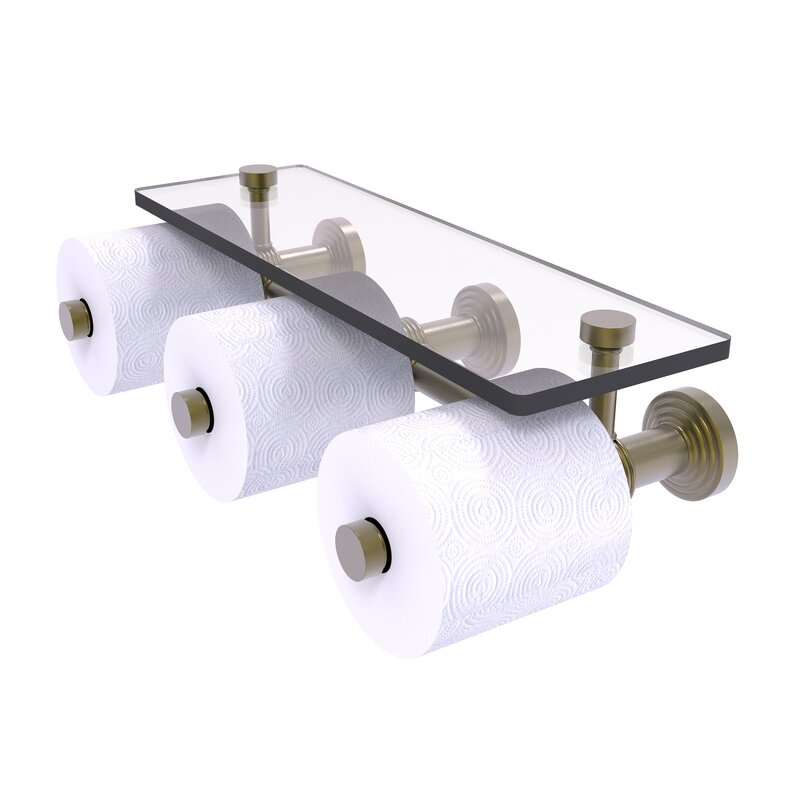 Charlton Home Beresford Wall Mount Toilet Paper Holder With Glass Shelf Wayfair