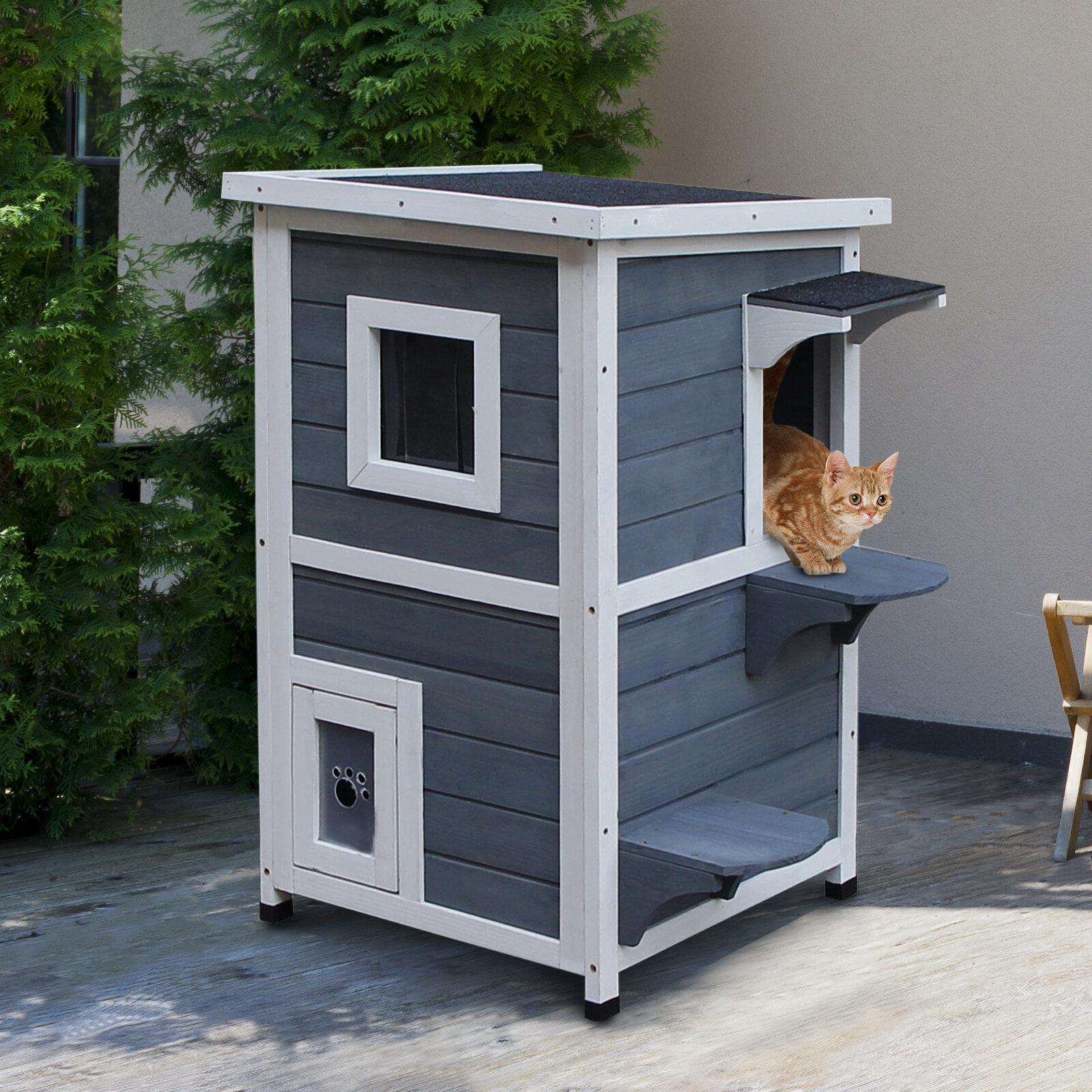 Tucker Murphy Pet Maja Solid Wood 2 Floor Cat House With Windows Reviews Wayfair