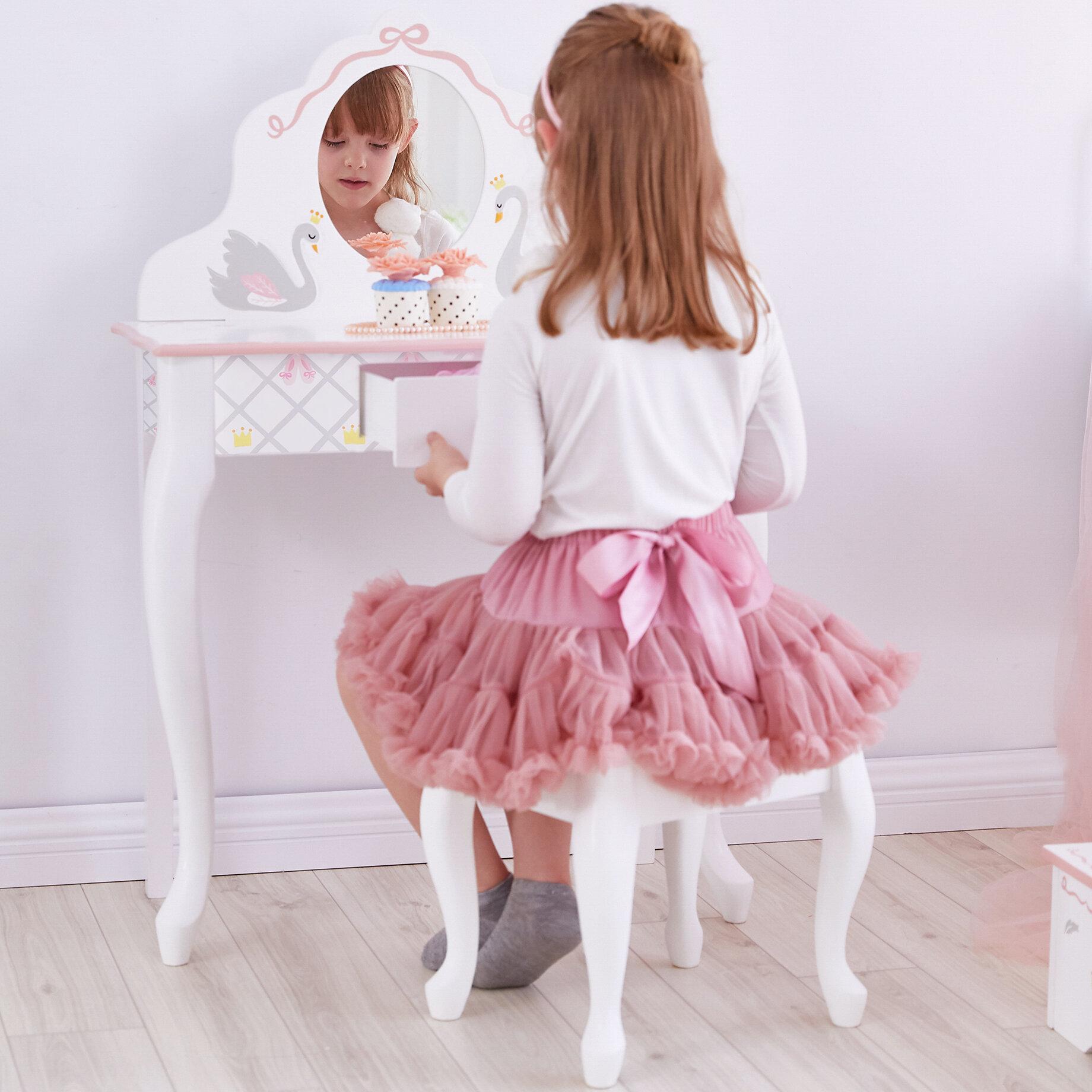 Mack Milo Aceves Dressing Table Set With Mirror Reviews Wayfair Co Uk