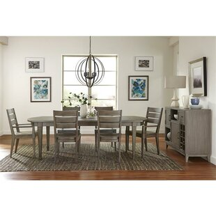 Malt Gray 7 Piece Extendable Solid Wood Dining Set Three Posts