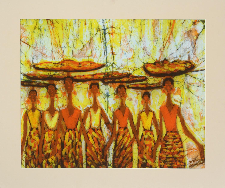 Novica Brisk Business Unique Batik Cotton by Samuel Ashong Painting ...