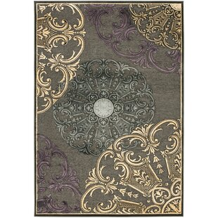 Best Saint-Michel Charcoal Floral Rug By Bungalow Rose