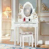Degeorge Vanity Set with Stool by Astoria Grand