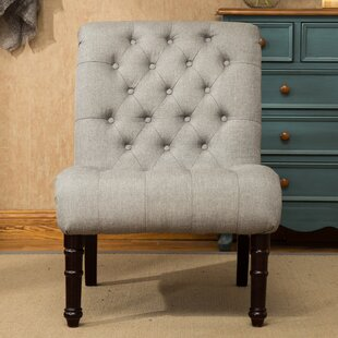 Lambrecht Rolled Back Button Tufting Armless Slipper Chair By Charlton Home