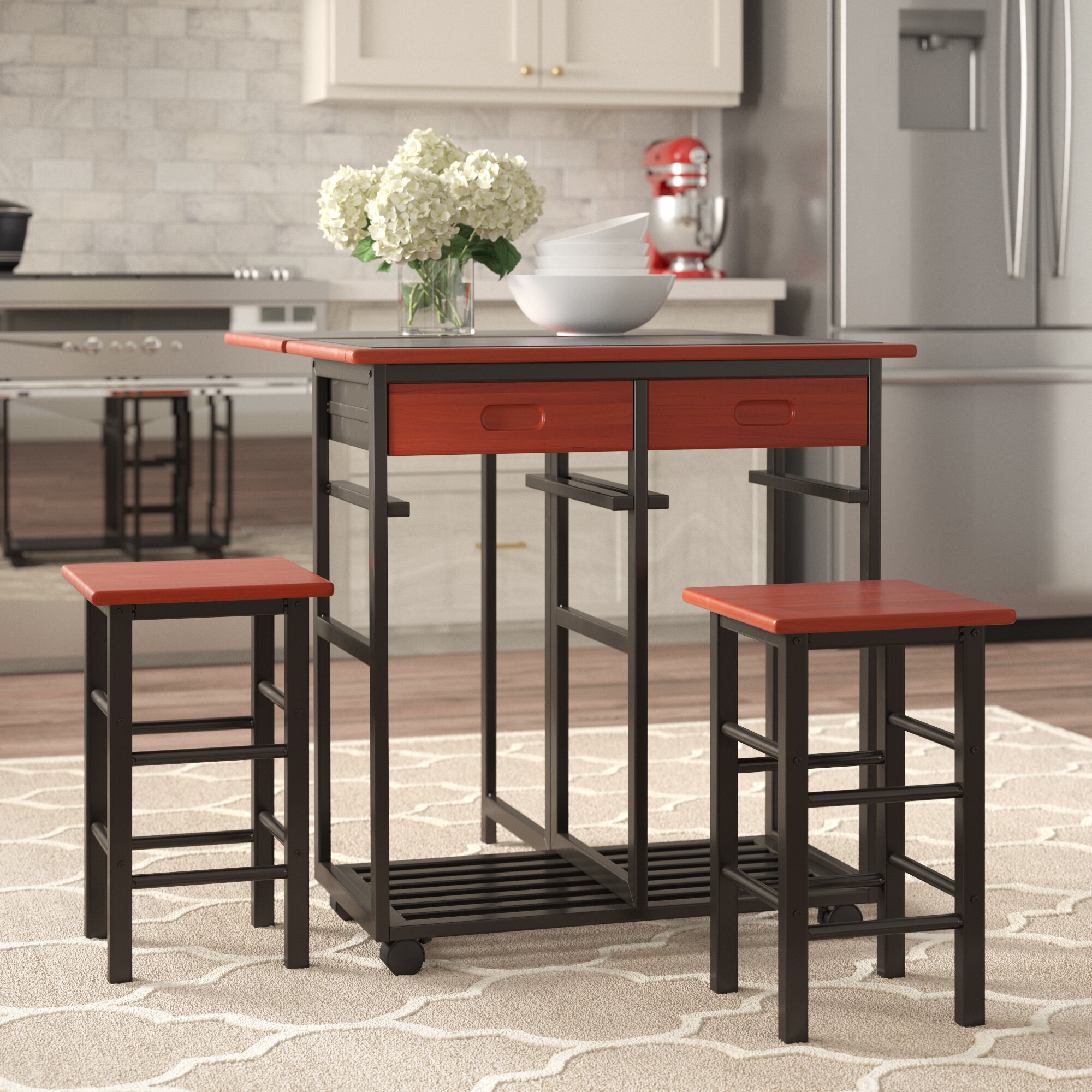 Space Saving Folding Table W 2 Stools And 2 Drawers Zenstyle Wood Drop Leaf Kitchen Rolling Cart Set 3 Piece Table Dinning Set Breakfast Bar Kitchen Island Trolley Cart Table Chair Sets