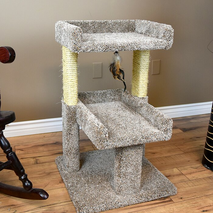 32 Carpeted Solid Wood Cat Tree