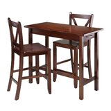 Apfelstadt Kitchen Island 3 Piece Counter Height Dining Set by Red Barrel Studio®