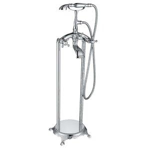 clawfoot tub faucet floor mount. Tugela Triple Handle Floor Mounted Clawfoot Tub Faucet with Hand Shower Bathtub Faucets You ll Love  Wayfair
