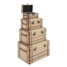 4 Piece Wood Burlap Trunk Set by Cole & Grey