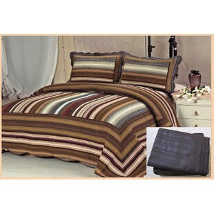 Melani Stripe 7 Piece Reversible Quilt Set