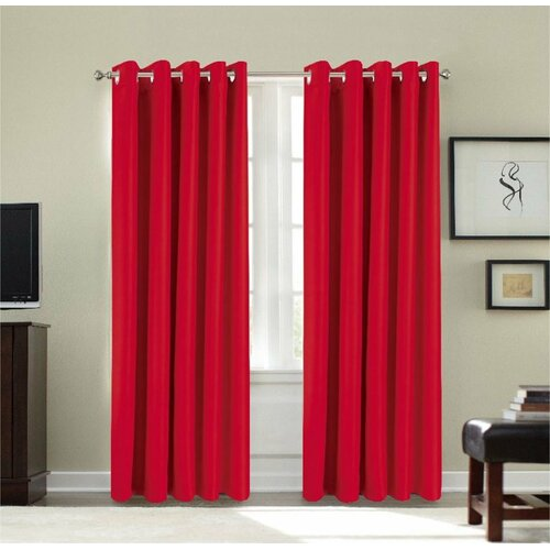 Dahlke Eyelet Blackout Thermal Curtains Marlow Home Co. Size: 168 W x 183 D cm, Curtain Colour: Red