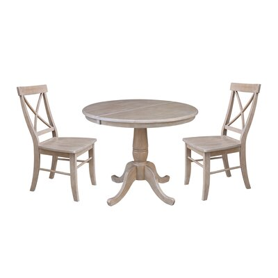 Petra Extendable Pedestal 3 Piece Solid Wood Bistro Set August Grove Color: Washed Gray Taupe