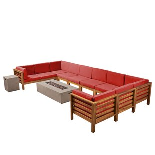 Nathanial Outdoor 12 Piece Sectional Seating Group With Cushions by Longshore Tides Reviews