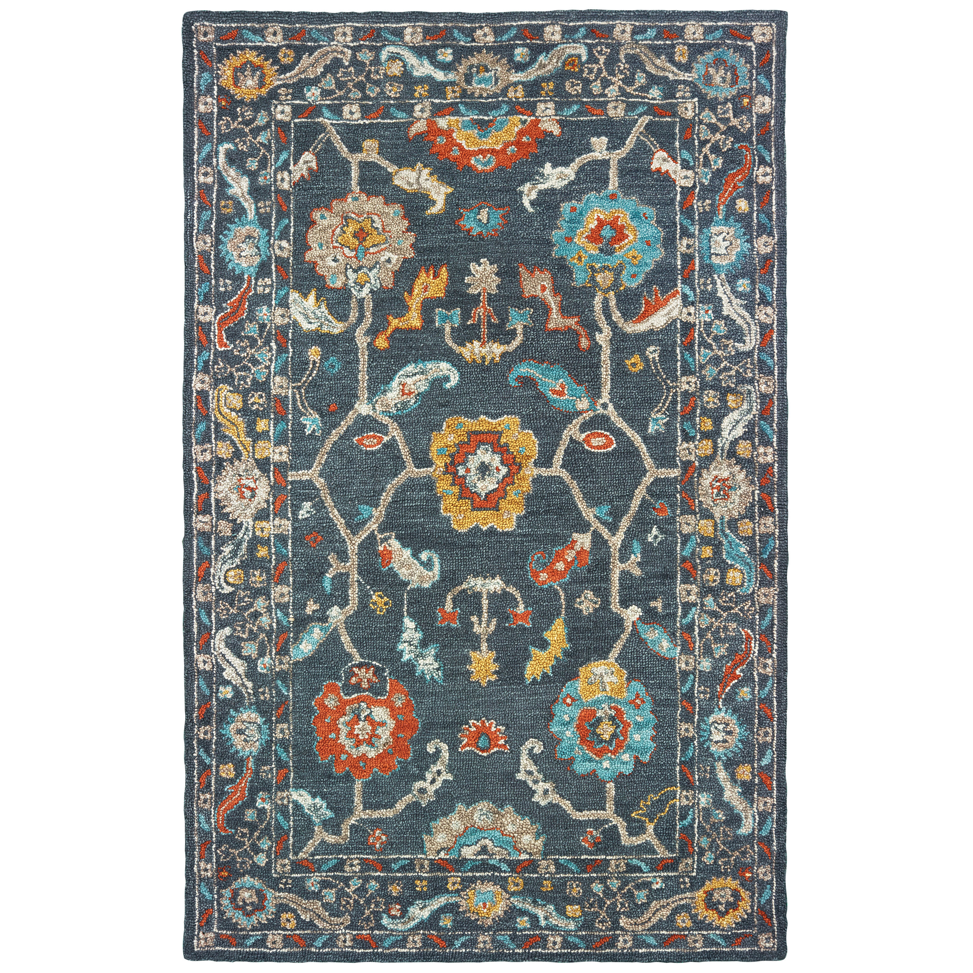 Bungalow Rose Imogene Oriental Handmade Tufted Wool Blue Area Rug Wayfair