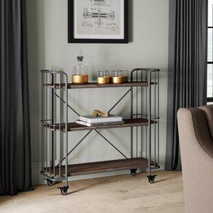 Greyleigh Kendleton 3 Tier Rectangular Wood Shelf Metal Bar Cart