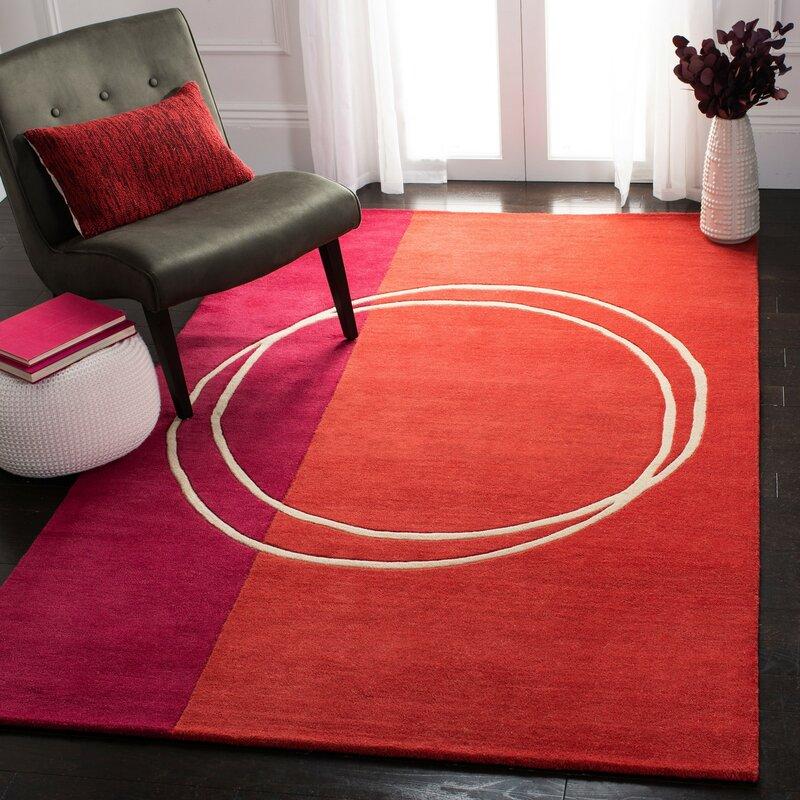 Corrigan Studio Charbonneau Geometric Handmade Tufted Wool Red Area Rug Reviews Wayfair