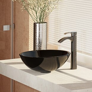 Order Glass Circular Vessel Bathroom Sink with Faucet By René By Elkay