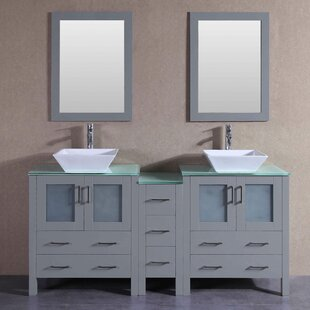 Jude 71 Double Bathroom Vanity Set with Mirror by Bosconi