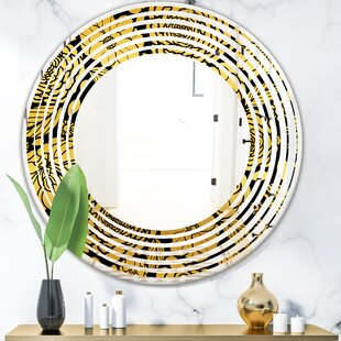 Floral II Wave Traditional Frameless Wall Mirror