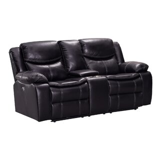 Aime Dual Wooden With Console Reclining Loveseat by Red Barrel Studio SKU:AA921522 Buy