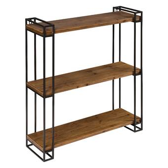 Gracie Oaks Mcclaine Wood and Metal Floating Wall Shelf ...