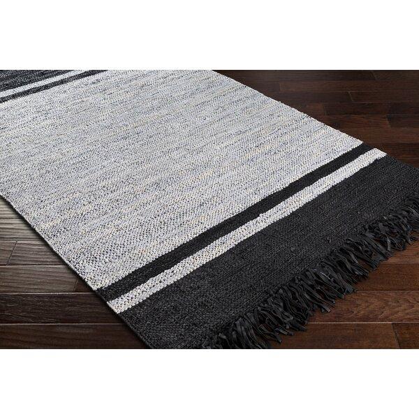 August Grove Abeilles Striped Handmade Flatweave Leather Light Gray Black Area Rug Wayfair