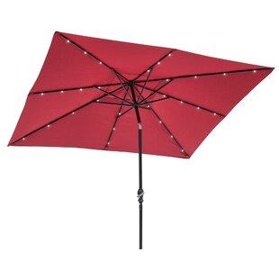 Griselda Solar Lighted 9' x 7' Rectangular Market Umbrella by Freeport Park