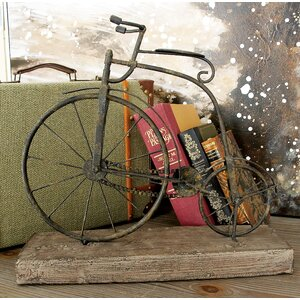 Textured Iron and Fir Decorative Bicycle Sculpture