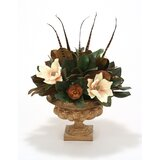 Magnolia and Feathers in Urn by Distinctive Designs