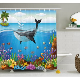 Lottie Whale in Ocean Planet Single Shower Curtain