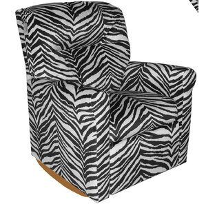 Contemporary Zebra Rocker Kids Box Cushion Recliner Slipcover by Dozydotes