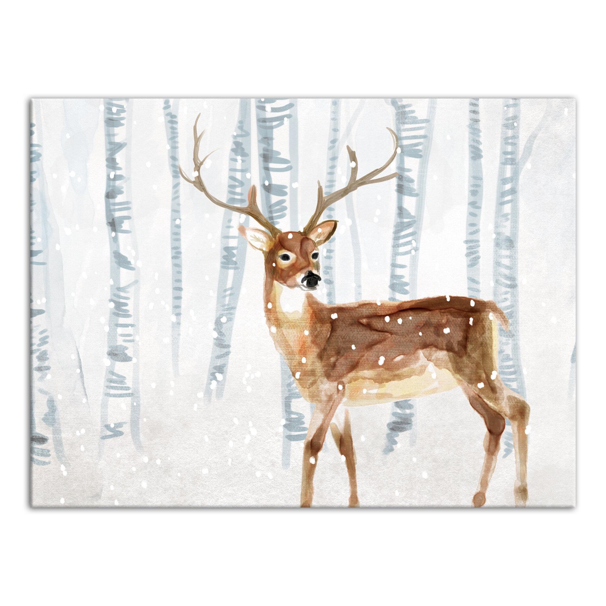 Deer In Winter Wonderland Graphic Art Print On Canvas Reviews Birch Lane