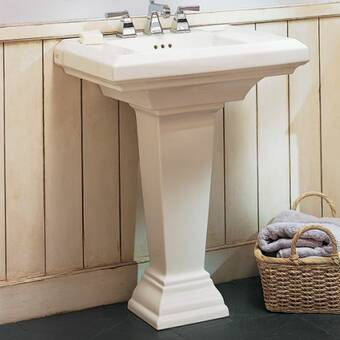 Transolid TLP-1414-08 Madison Grande Oval Pedestal Vitreous China Lavatory 4-Inch Centers Biscuit
