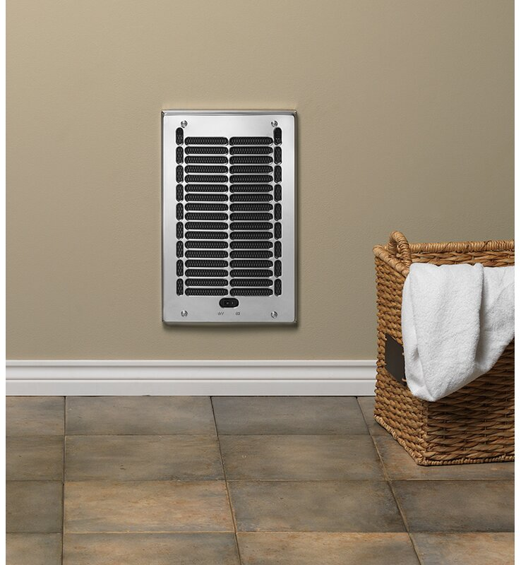 Electric Wall Heater Bathroom In-Wall Fan-Forced 1000-Watt 120-Volt Chrome New