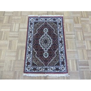 Compare One-of-a-Kind Beaton Tabriz Hand-Knotted Black Area Rug By Isabelline