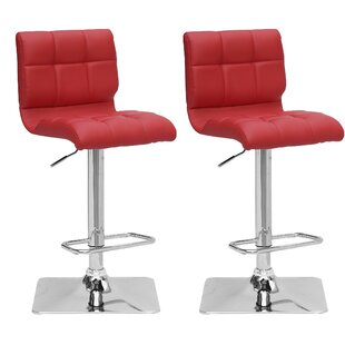 Burnham Adjustable Height Swivel Bar Stool (Set of 2) Wade Logan