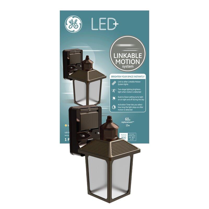 Ge Lighting Ge Led Black 1 Bulb 11 81 H Outdoor Wall Lantern With Dusk To Dawn Wayfair