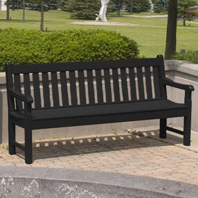 Swell Polywood Rockford Plastic Garden Bench Color Black Size 48 Inch Bralicious Painted Fabric Chair Ideas Braliciousco