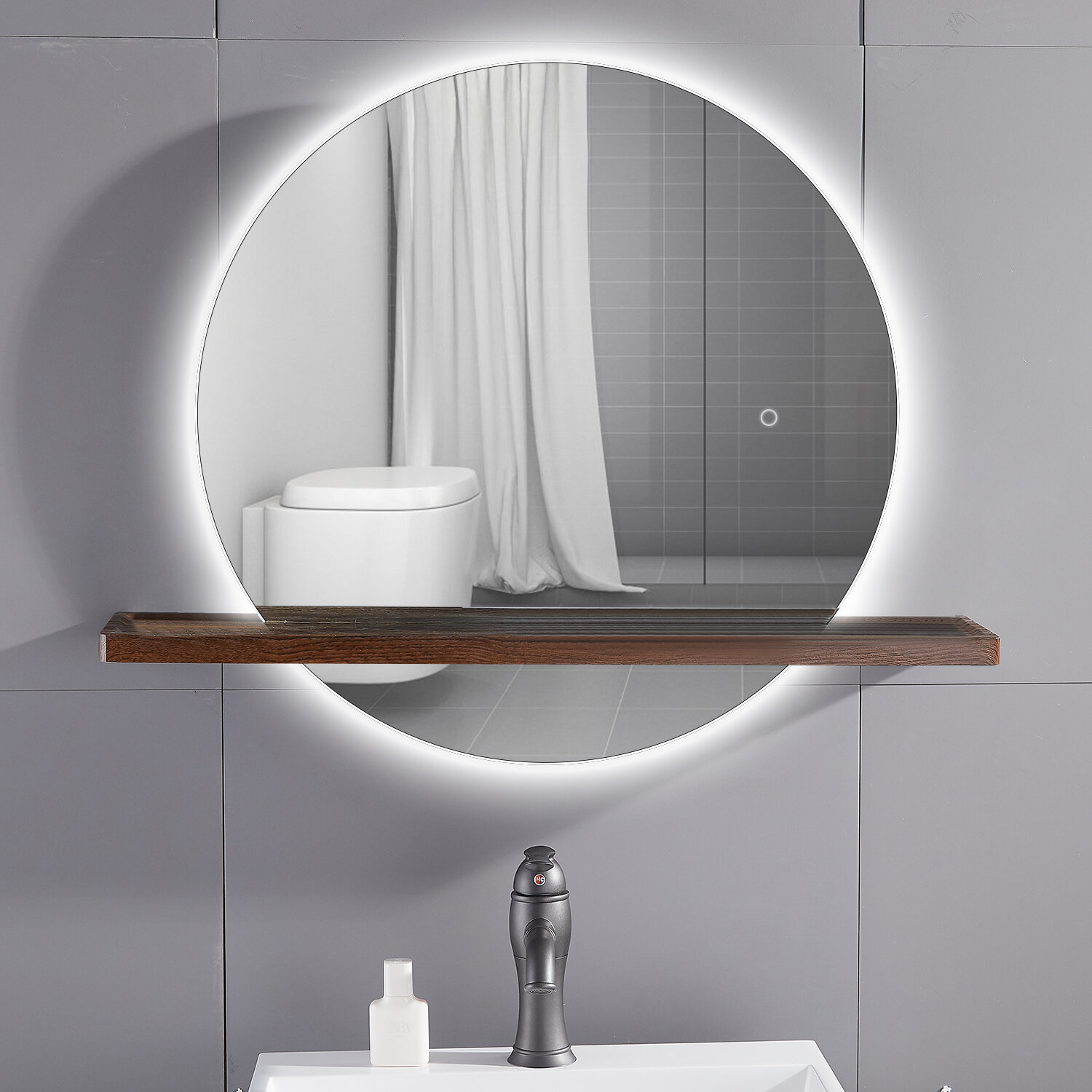 Modern Frameless Lighted Bathroom Mirror with Shelves