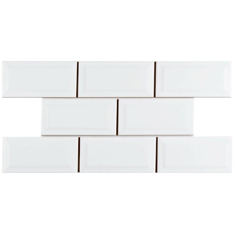 Elitetile Prospect Beveled 3 X 6 Ceramic Subway Tile In Glossy