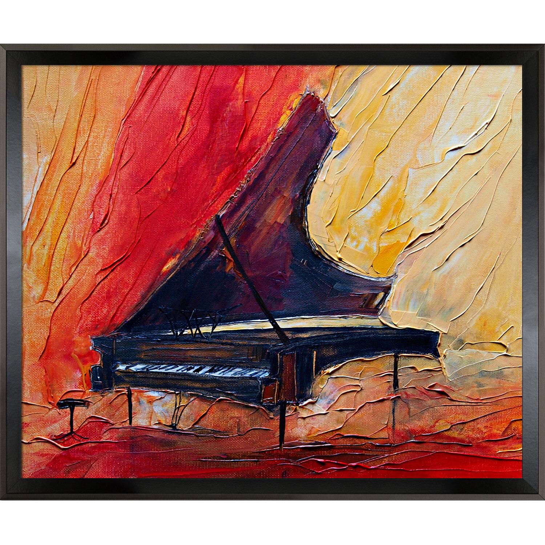 Ebern Designs Artisbe Piano Ii Framed Painting On Canvas Wayfair