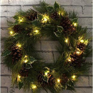 Low Price LED Pinecone & Ivy 45cm Lighted Wreath