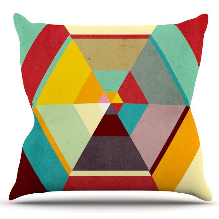 E by design PGN727BL44-26 26 x 26-inch Geometric Print Pillow 26x26 Blue Illuminate