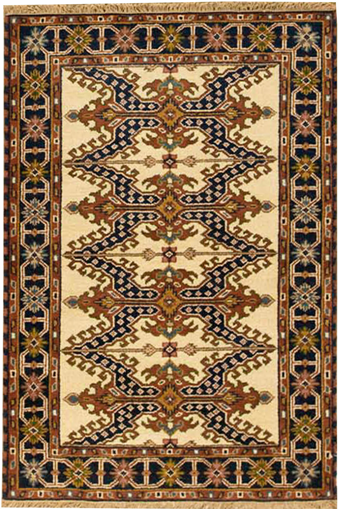 Bokara Rug Co Inc Indo Kazak Hand Knotted Wool Cream Blue Rug Wayfair