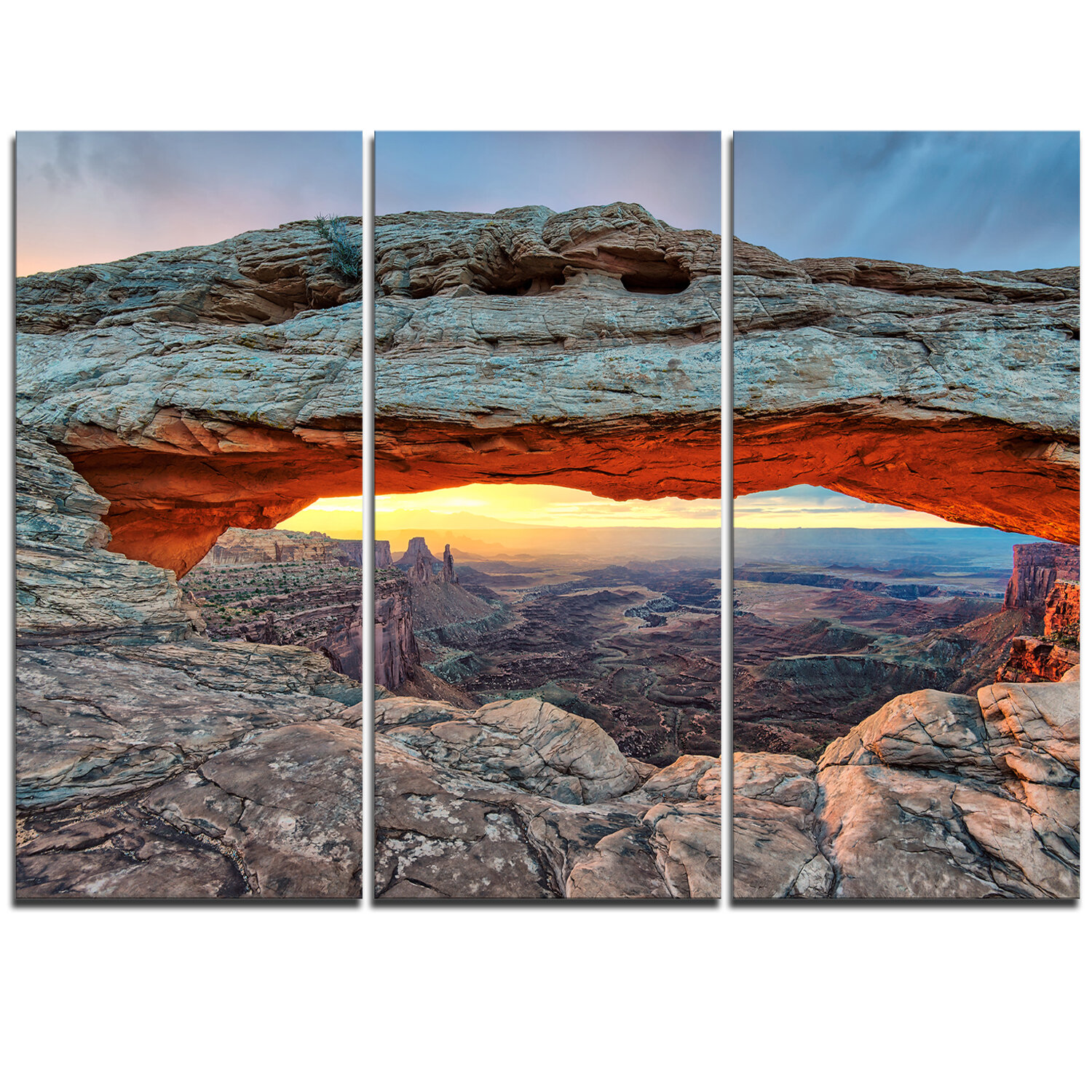 Designart Sunrise At Mesa Arch In Canyon Lands 3 Piece Graphic Art On Wrapped Canvas Set Wayfair